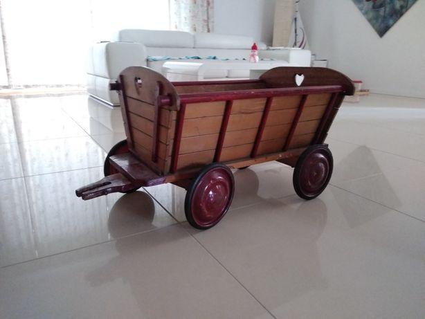 Stara zabawka drewniany wóz wózek dziecięcy przyczepka dla dzieci