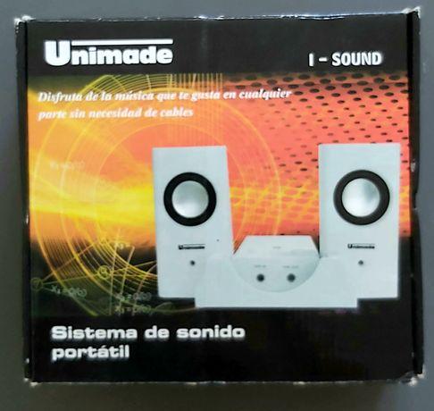 Sistema de som para telemóvel ou leitor de MP3. Artigo Novo