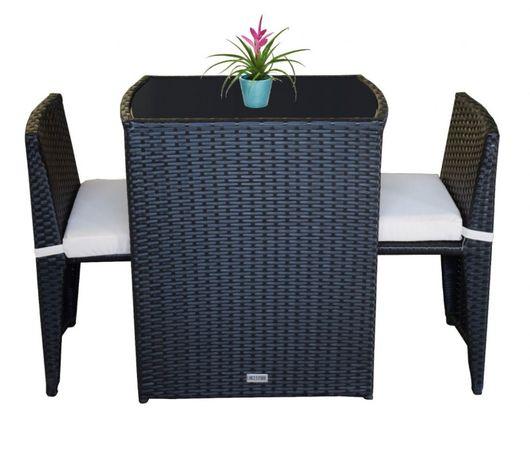 17385 Zestaw mebli balkonowych dla 2 osób krzesła + stolik CZARNE