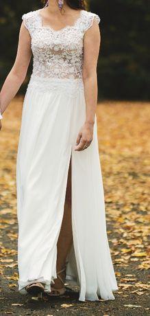 rustykalna suknia ślubna koronka muślin rozcięcie r. 36, 163 cm +7cm