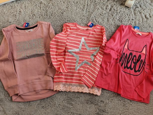 Zestaw ubrań bluza i bluzeczki + gratis NOWE r. 122/128