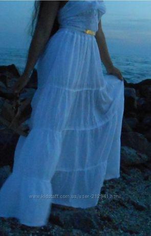 Белый сарафан платье макси в пол