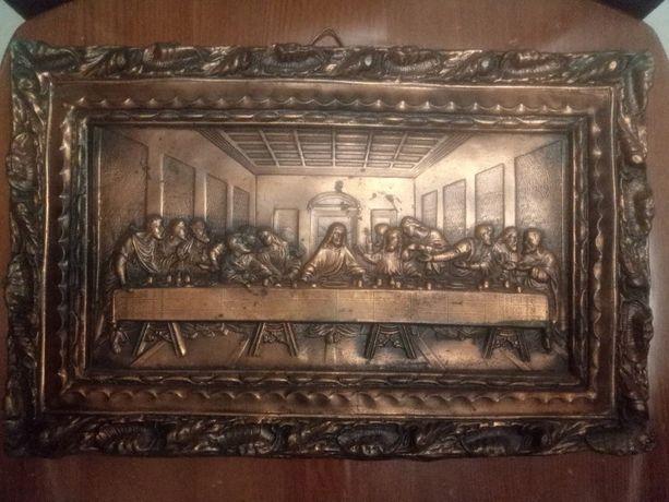 старинная настенная картина чеканка Тайная вечеря натуральная медь