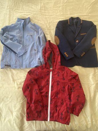 Предлагаю две ветровки, джемпер и стильный пиджак для мальчика 6-9лет.