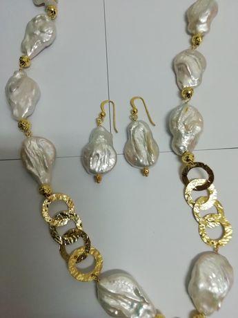 Conjunto colar e par brincos prata dourada