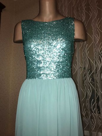 Вечернее/коктельное платье мятного цвета в пайетках 38р.