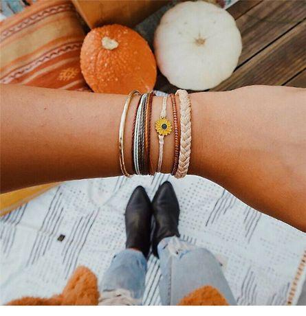 Conjunto 5 Pulseiras Girassol Sunflower Margarida e Tranças |Designer