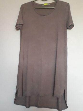 Sukienka tunika asymetryczna trapezowa wiskoza 38