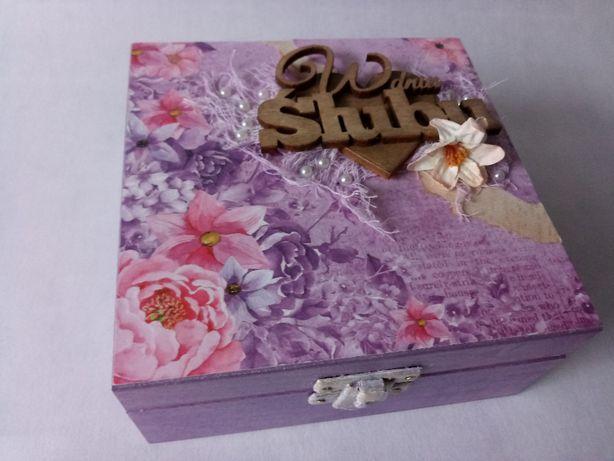 Pudełko, kasetka, szkatułka W DNIU ŚLUBU (decoupage)