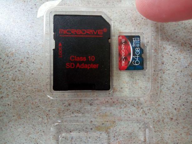 Карта памяти MicroSD на 64GB 10 класс с переходником