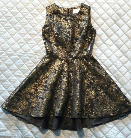 Piękna złoto czarna asymetryczna sukienka Mohito XS - wesele
