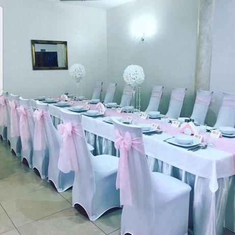 Zastawa stołowa , obrusy ,pokrowce , krzesła, stoły,sprzęt cateringowy