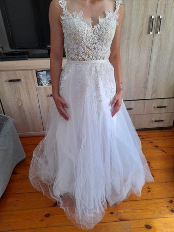 Suknia ślubna snieznobiala 36 tiul koronka 164