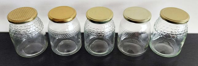 Frascos de vidro para 1kg de mel com tampa dourada