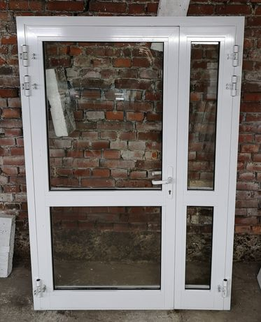 Drzwi ppoż przeciwpożarowe EI30 aluminiowe białe 150x218