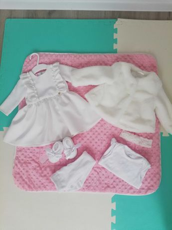 Sukienka La Mere 68 + cały zastaw ubranek na chrzest