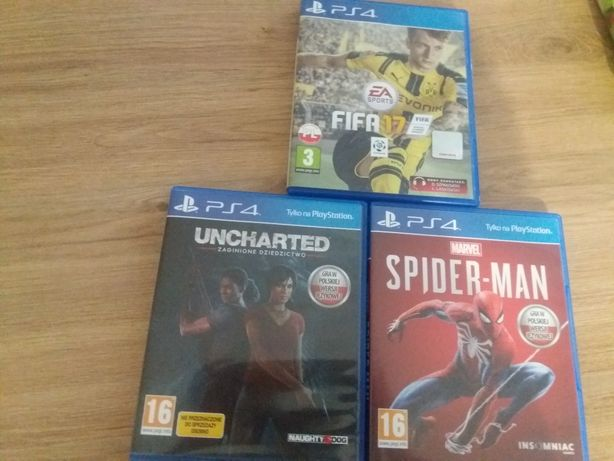Spiderman fifa 17 uncharted PS4 GRY
