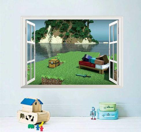 Виниловая наклейка на стену Майнкрафт, окно. Ребёнок будет в восторге!