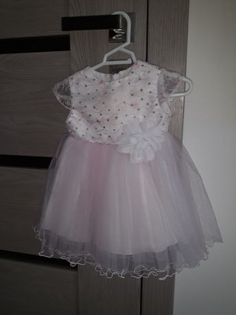 Śliczna sukienka dla małej damy chrzest wesele impreza rozmiar 68