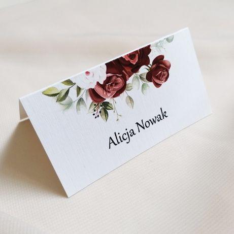 Winietki na stół weselny bordowe róże