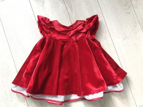 Sukienka czerwona prezent swieta wigilia welurowa r68