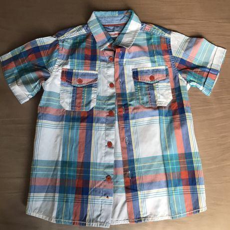 Koszula z krótkim rękawem w kratę ze Smyka r. 116, chłopięca