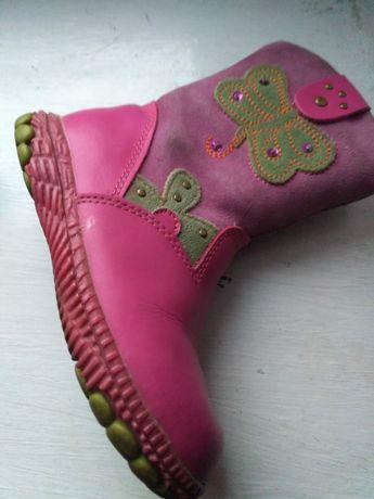 Зимние кожаные сапожки на натуральном меху