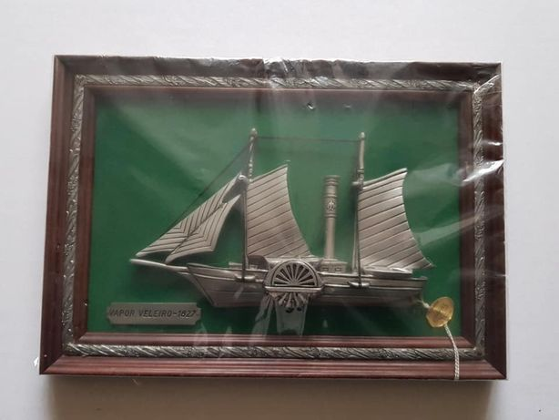 Quadro decorativo estanho vapor veleiro