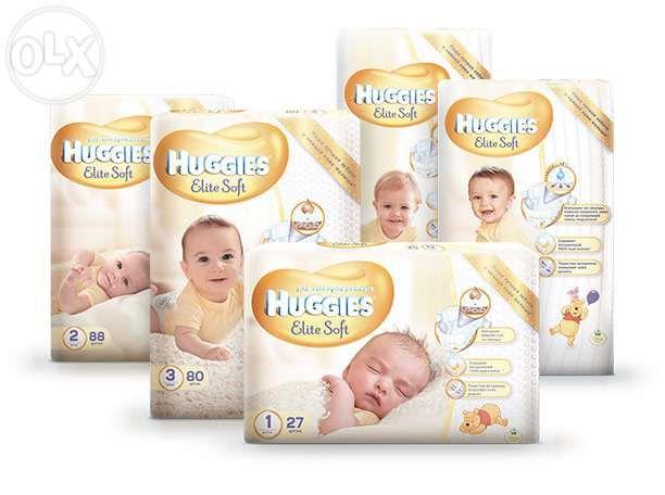 Подгузники Huggies Elite Soft. Все размеры! Доставка! хаггис трусики