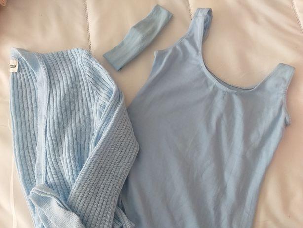 Conjunto maillot ballet + casaco + fita (portes já incluídos no preço)