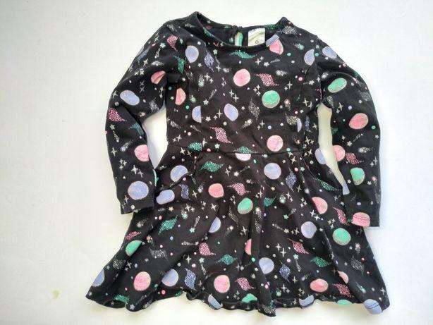 Wygodna sukienka bawełna niebo gwiazdki 92cm/98cm