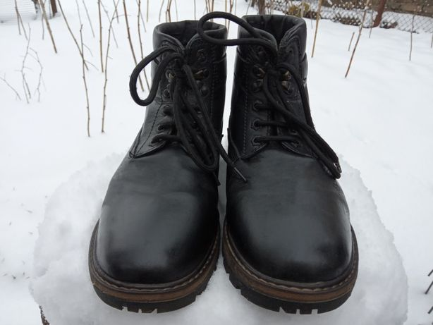 Кожаные мужские ботинки 44р Golovin черные подкладка шерсть зима обувь