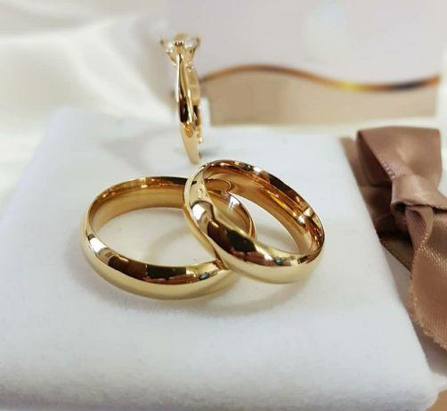 Pełna Elegancji Ponadczasowa Para Złotych Obrączek Ślubnych