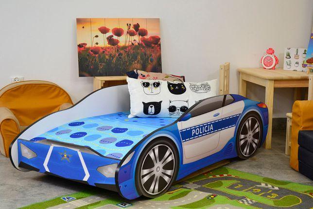 Łóżeczko samochód POLICJA z materacem
