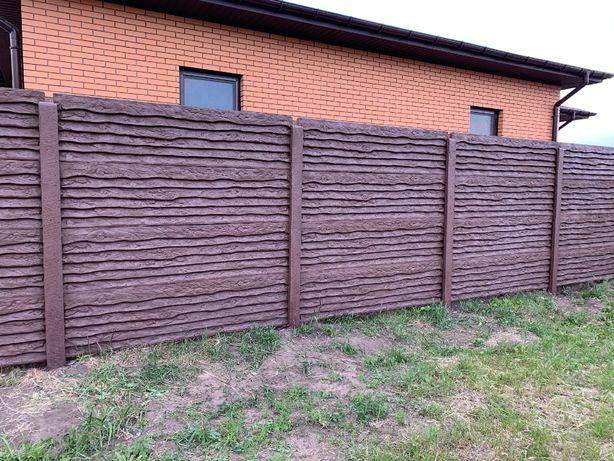 Бетонний забор, з профнастилу ворота, стовпчики, кільця