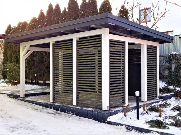 NOWOCZESNA altana ogrodowa biała szara rolety zadaszenie taras wiata