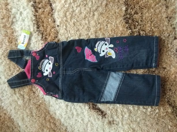 Комбинезон джинсовый на махре на 1-2года