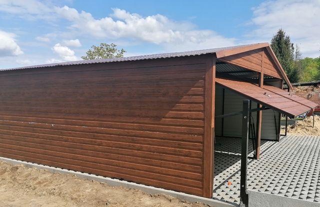 Garaż o wymiarach 6x6 w kolorze drewnopodobnym do wyboru