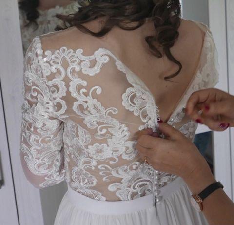 Suknia ślubna boho rustykalna krój A