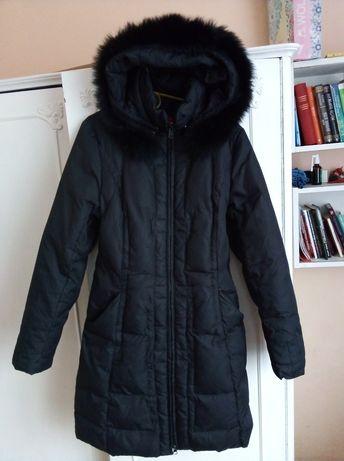 Пуховик.SNOW IMEGE. Пухове Пальто.Розмір- S. Натуральне хутро.