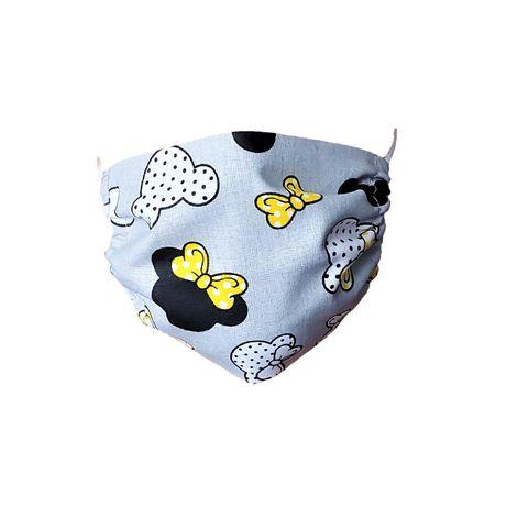 Maseczka ochronna bawełniana dla dzieci – Myszki z żółtymi kokardkami