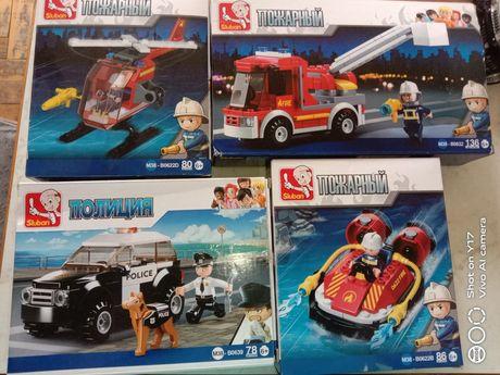 4 конструктора Лего аналог, lego пожарные полиция