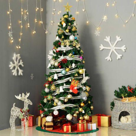 Árvore de Natal verde com enfeites Φ80x180cm Artificial