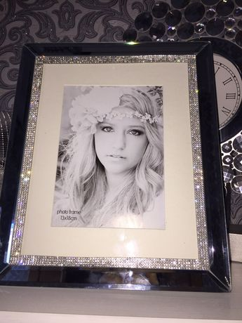 Ramka lustrzana z kryształkami błyszcząca śliczna glamour nowa srebrna