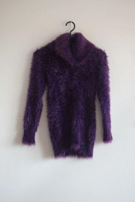 Fioletowy włochaty puchaty sweter golf S Barczewo - image 1