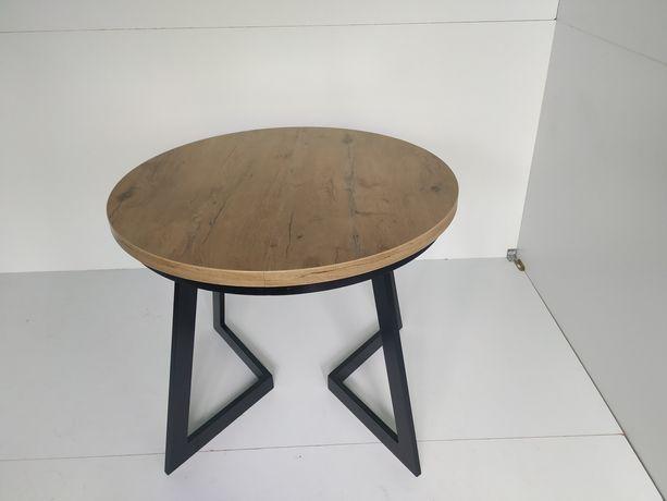 Stół okrągły rozkładany Dąb Lancelot nogi metalowe