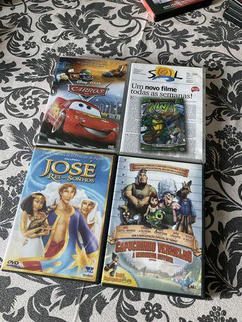 DVD-Carros, Tartarugas Ninja, Capuchinho Vermelho