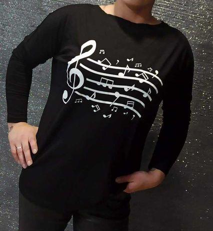 Czarne bluzeczki z nadrukiem