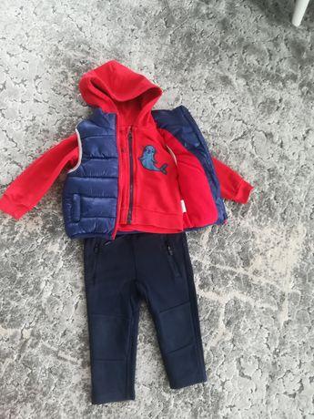 Zestaw dla chłopca: kamizelka, bluza i spodnie, Smyk, 5-10-15