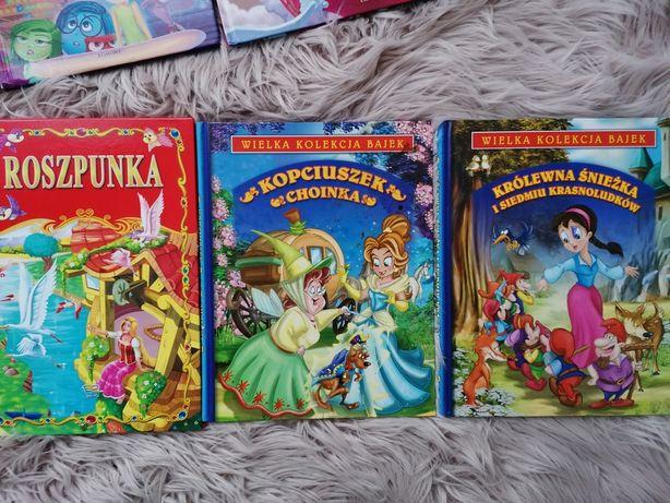 Zestaw 4 książek księżniczki Roszpunka Kopciuszek królewna Śnieżka